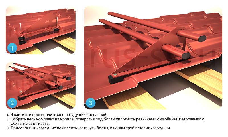 монтаж снегозадержателей на металлочерепицу инструкция видео